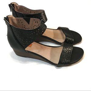 Mix Mooz Black strappy wedge heel size 10 new!